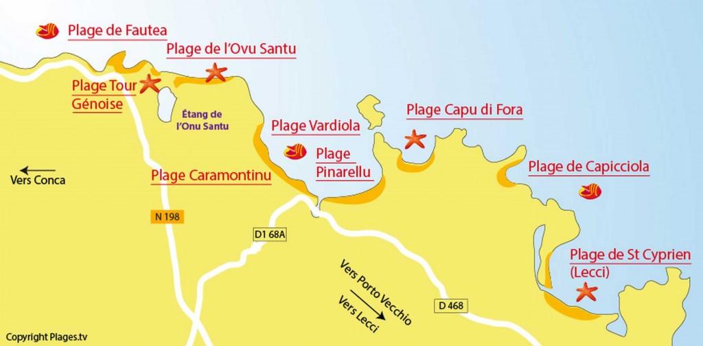 Carte des plages autour de Saint Lucie de Porto Vecchio